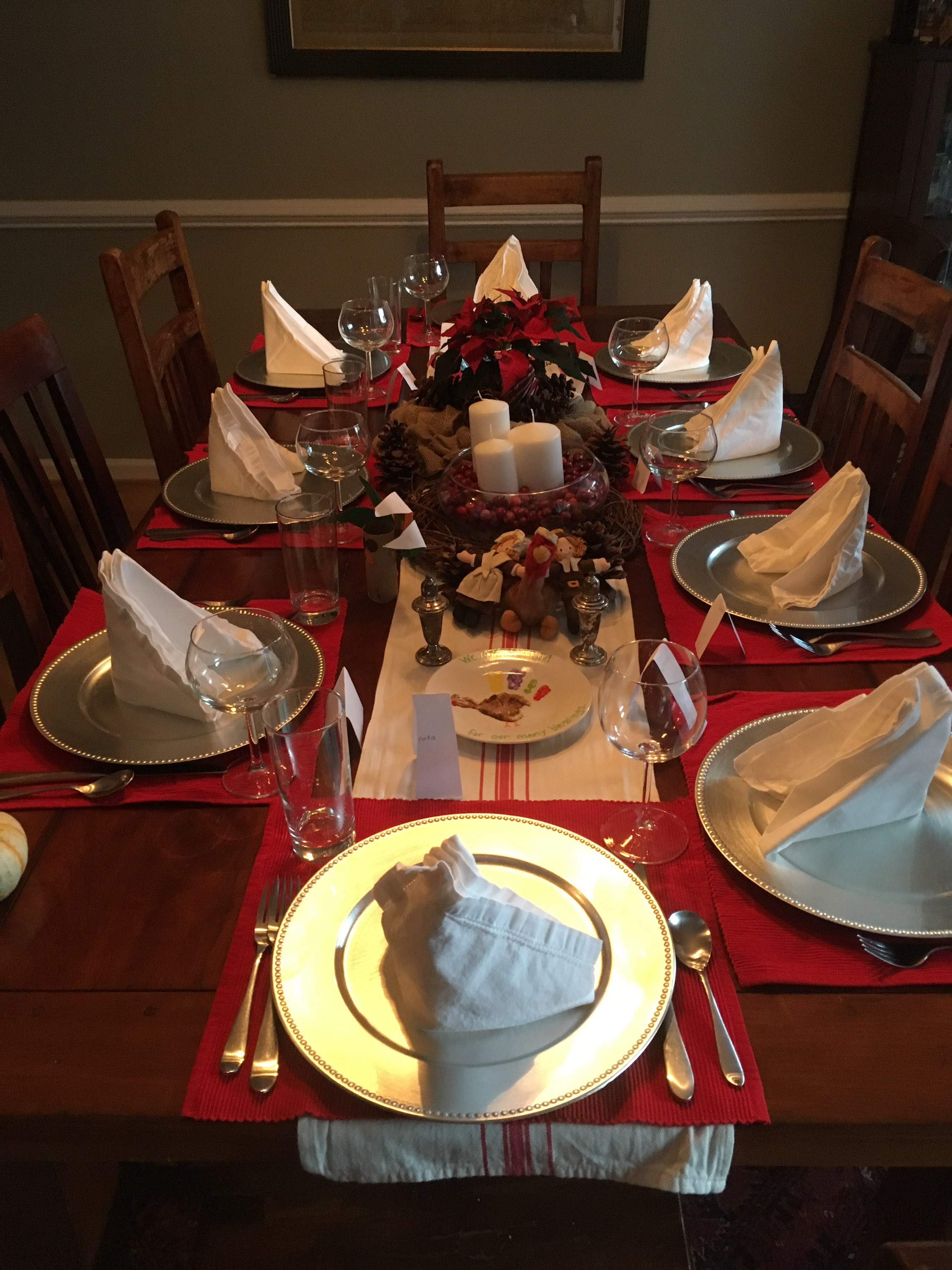 Dinner table set with food