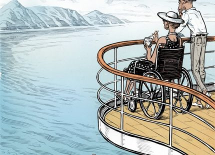 Illustration of a woman in a wheelchair and a man on a ships deck overlooking the water and mountains in the distance.